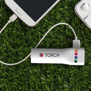 Powerbank Torch 2200 mAh Blanc avec impression quadri