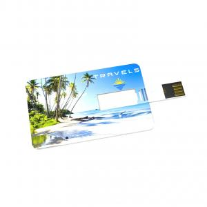USB Stick Credit Card 3.0 16 GB Premium Blanc avec impression quadri